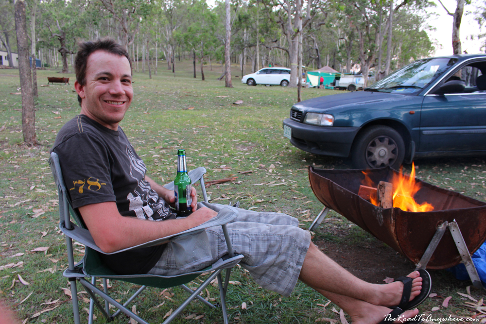 Having a beer by the campfire in Darlington Park, Australia