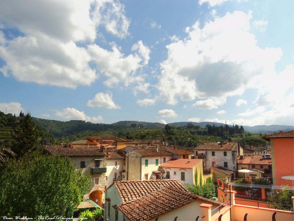 View of roof tops in Greve in Chianti in Tuscany, Italy