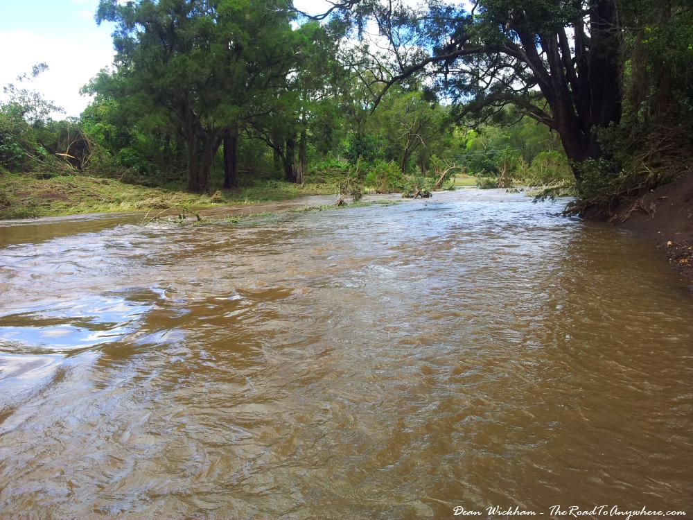 Canungra creek flooding in Canungra, Australia