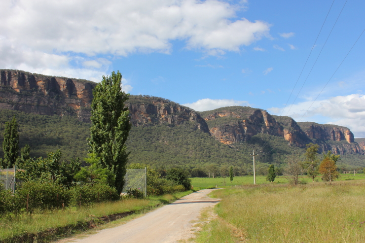 Tall sandstone cliffs in Glen Davis, Australia
