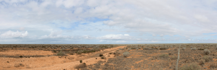 Panorama of the treeless Nullarbor Plain in South Australia