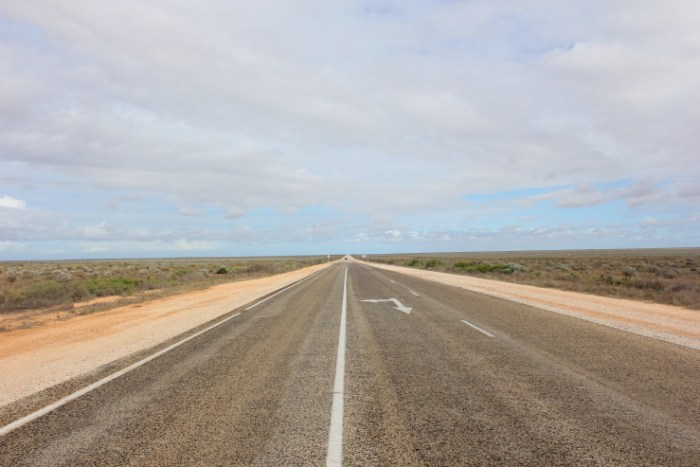 Straight road on the Nullarbor Plain in South Australia