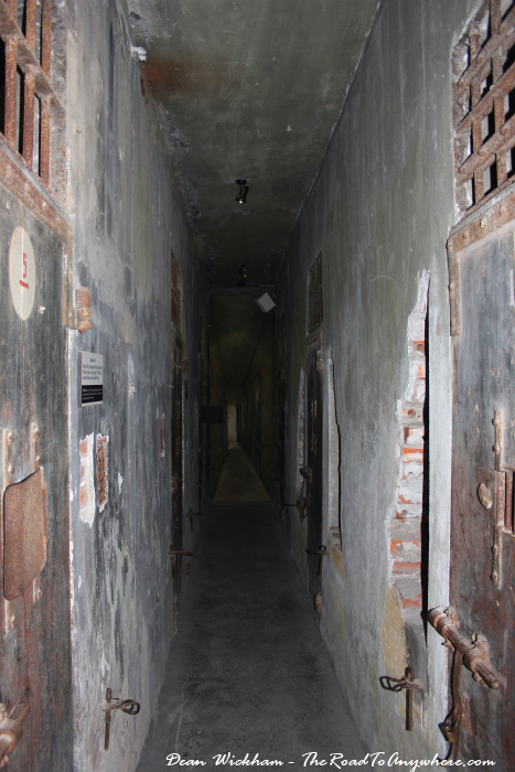 Hallway inside Hoa Lo Prison in Hanoi, Vietnam
