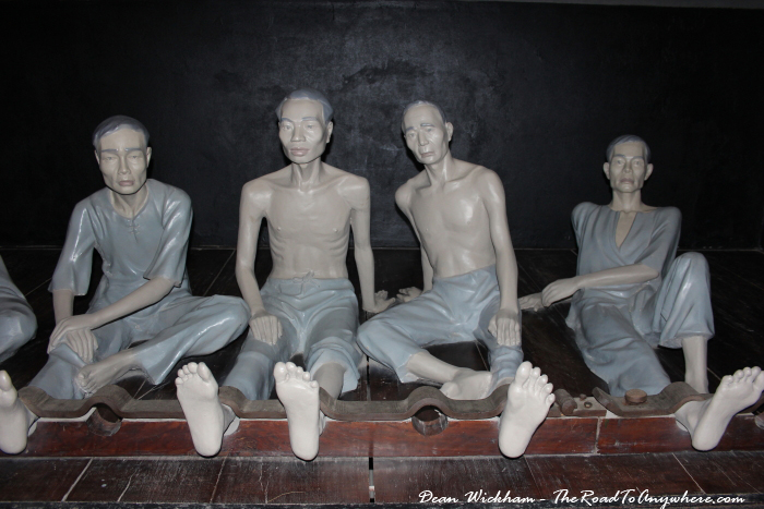 Shackled prisoners in Hoa Lo Prison in Hanoi, Vietnam
