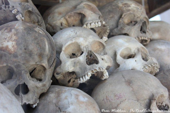 Skulls at Choeung Ek Killing Fields in Phnom Penh, Cambodia