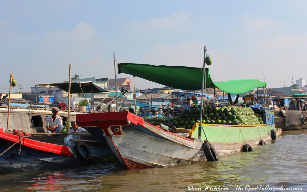 A boat selling watermelons at Cai Rang Floating Market in the Mekong Delta, Vietnam