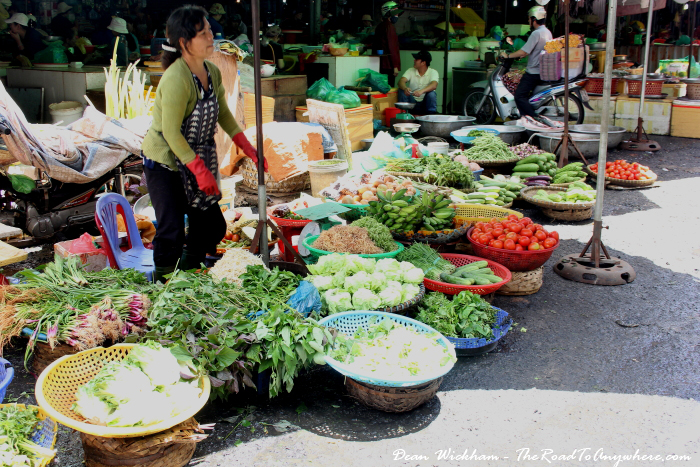 Lady selling vegetables at the Central Market in Dalat, Vietnam