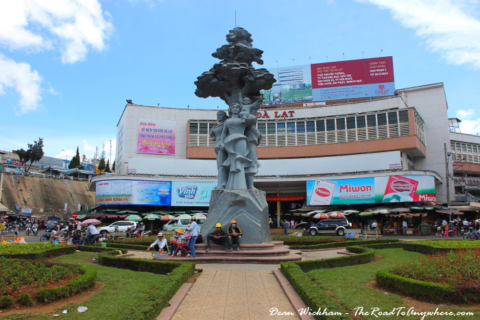 Roundabout and statue at Dalat Central Market, Vietnam