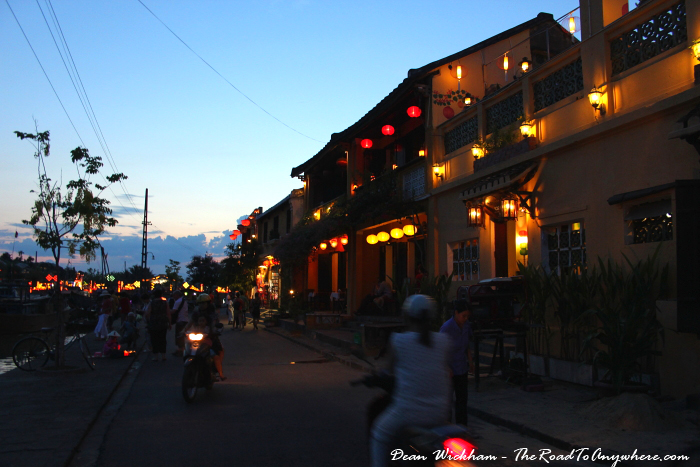 Restaurants along the river front in Hoi An, Vietnam