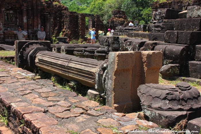 A fallen pillar at My Son in Vietnam