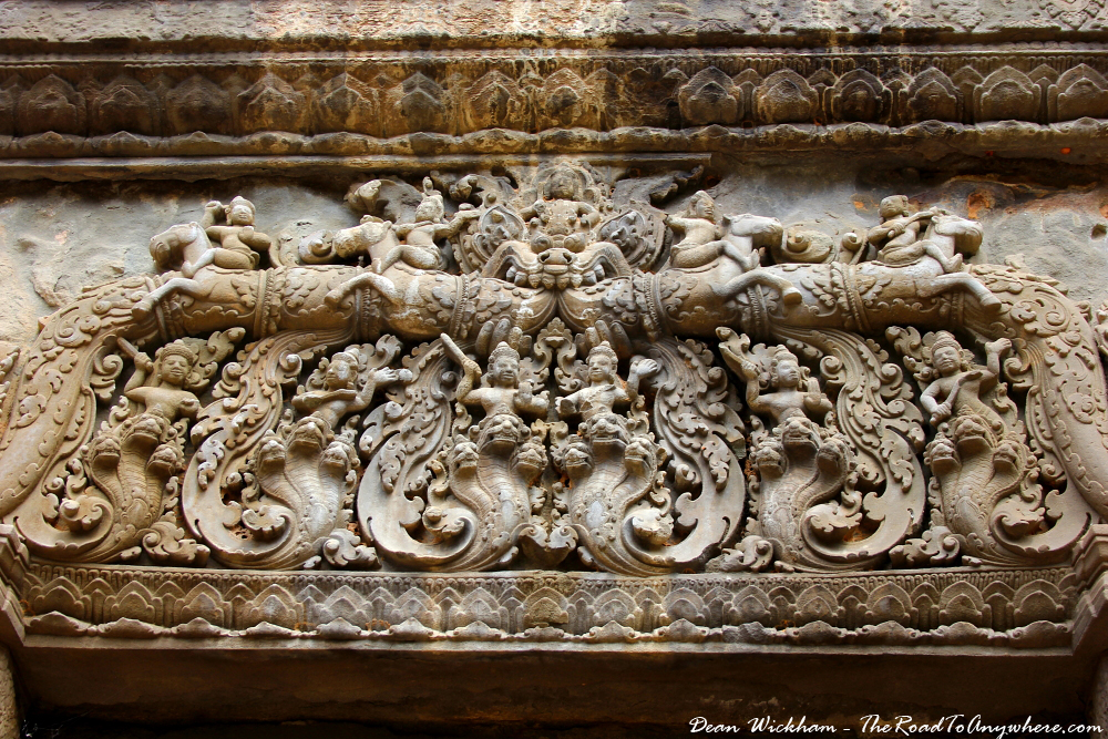 Carvings at Preah Ko in Angkor, Cambodia