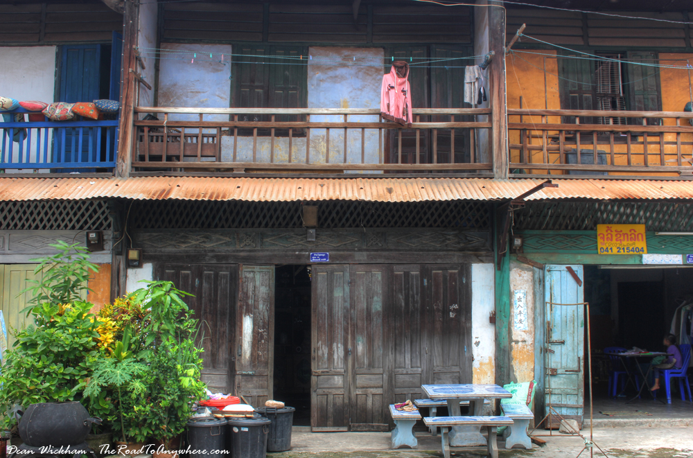 Old shopfronts in Savannakhet, Laos