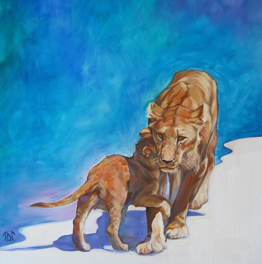 Wild Mother Lioness and Cub Painting by Jane Taylor