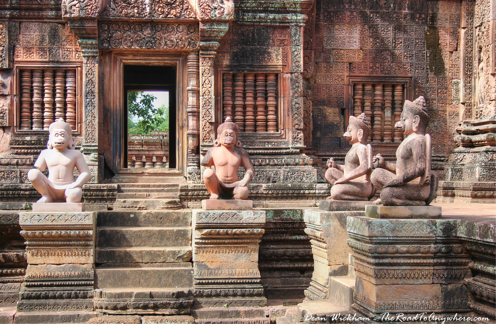 Statues in Banteay Srei in Angkor, Cambodia