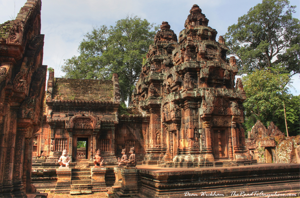 Ancient towers of Banteay Srei in Angkor, Cambodia