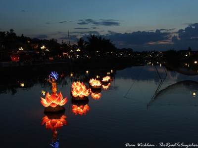 Flower Lights on the River in Hoi An, Vietnam