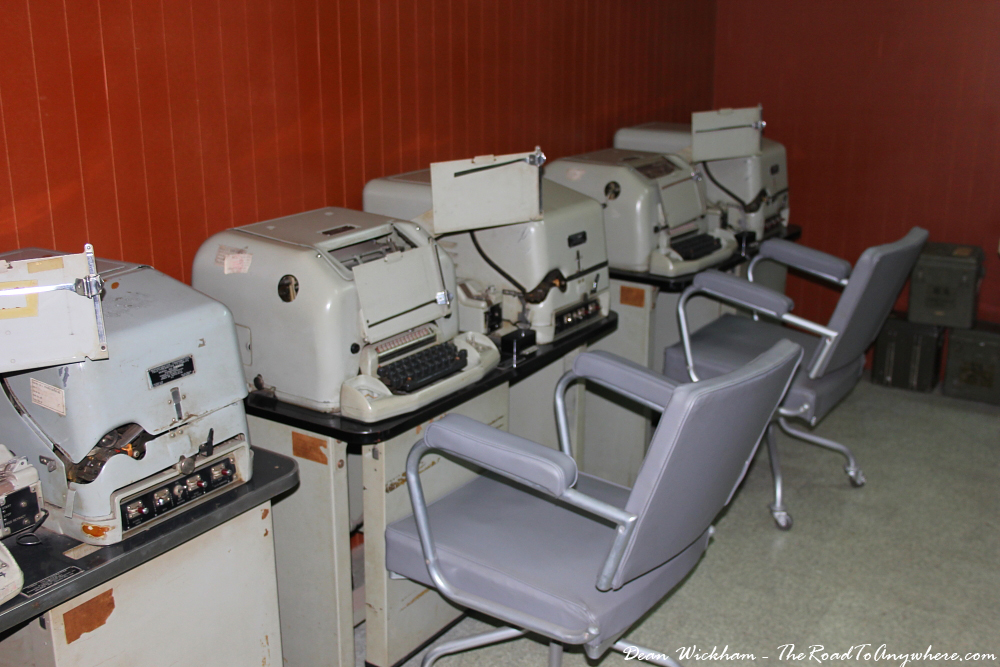 Old typing equipment at the Reunification Palace in Saigon, Vietnam