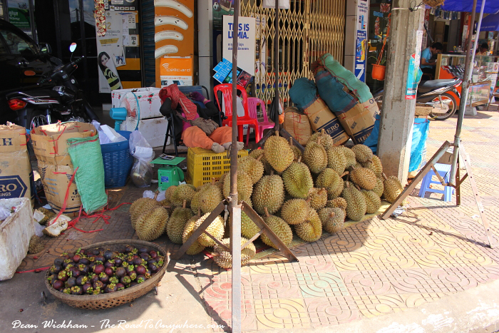 Sleeping street vendor in Kampong Cham, Cambodia