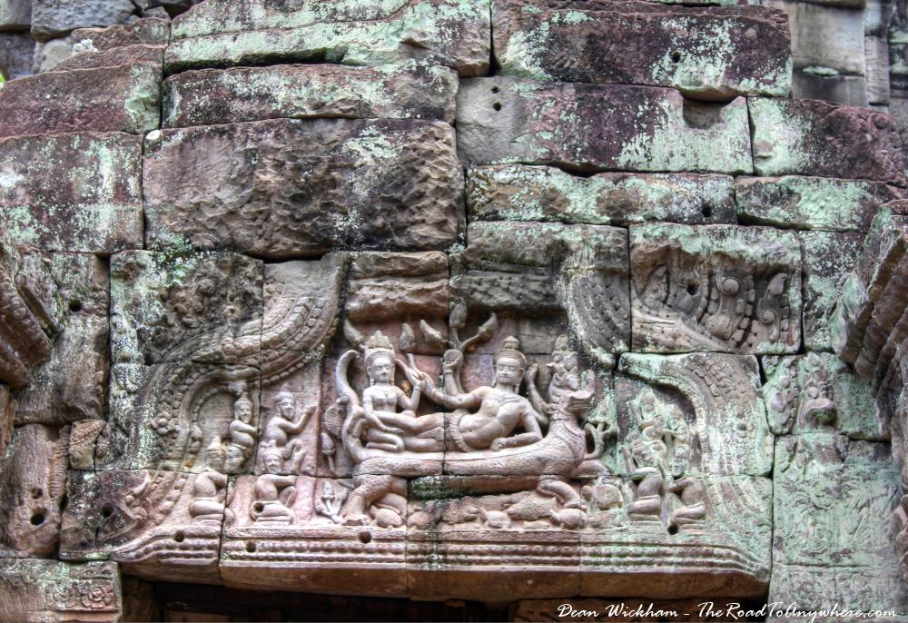 Stone carvings at Preah Khan in Angkor, Cambodia