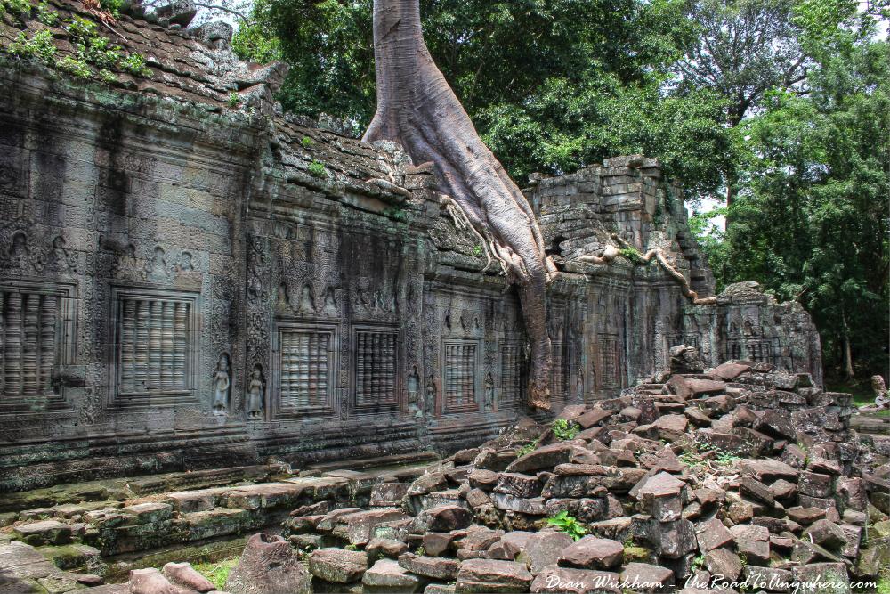 Ruins and an ancient wall at Preah Khan in Angkor, Cambodia
