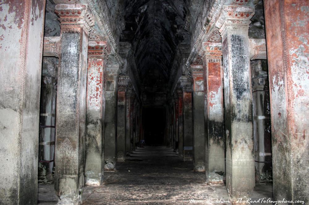 Ancient Hallway inside Angkor Wat, Cambodia