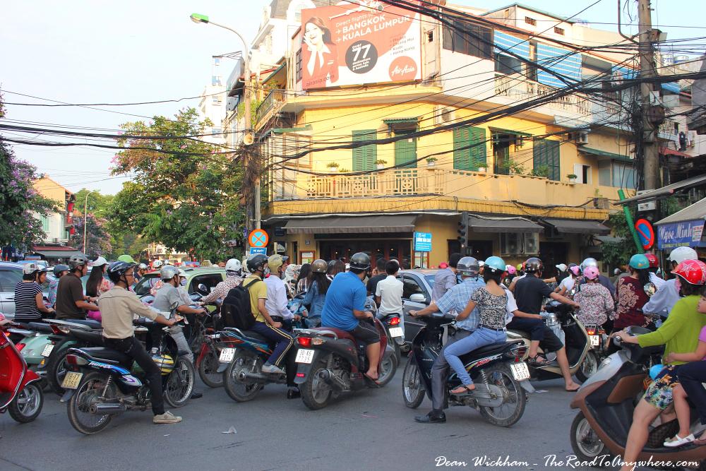Crazy traffic in Hanoi, Vietnam