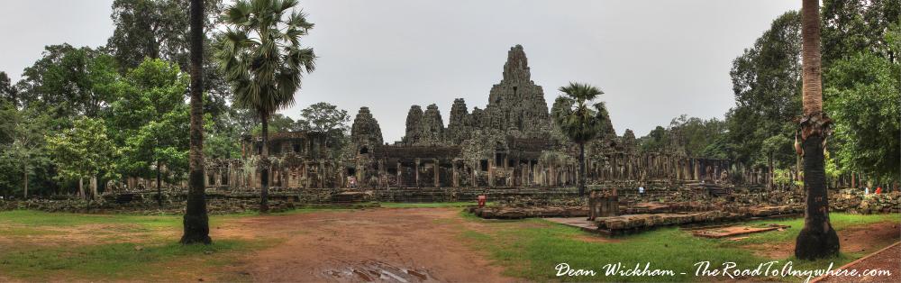 Panorama of Bayon in Angkor Thom, Cambodia