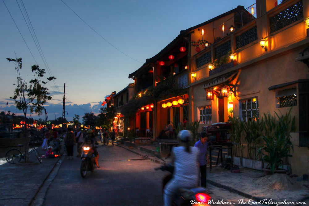 Waterfront Street at Dusk in Hoi An, Vietnam