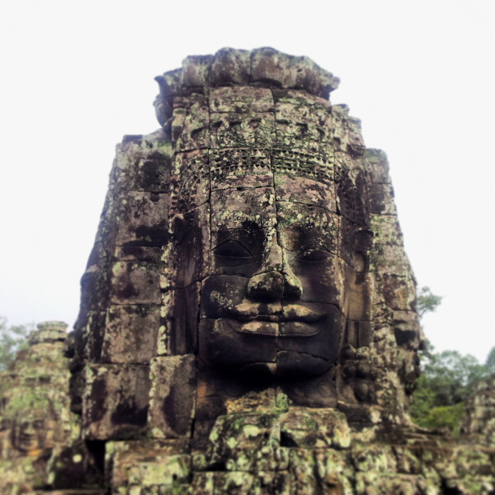 Amazing faces of Bayon temple in Angkor, Cambodia