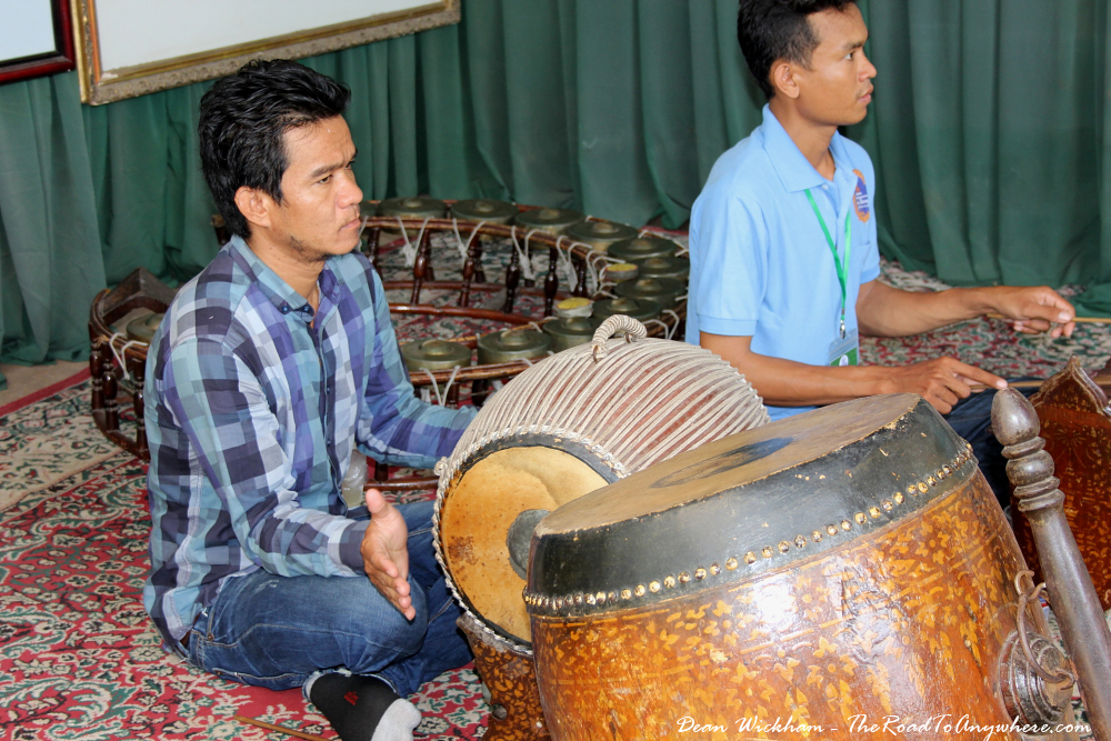 Two men play traditional Khmer music in Phnom Penh