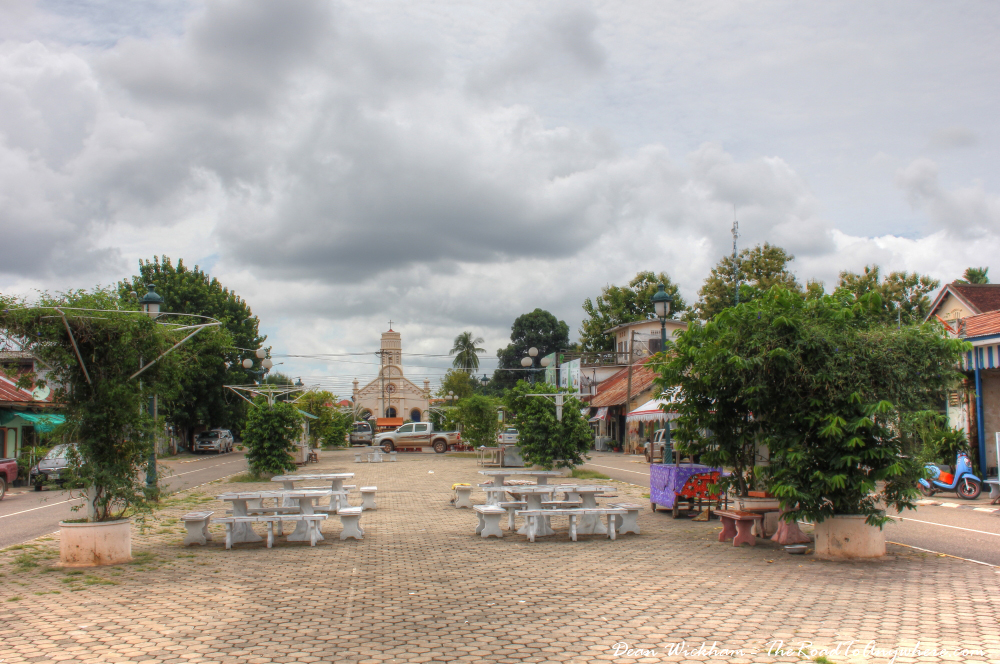 Central plaza in Savannakhet, Laos