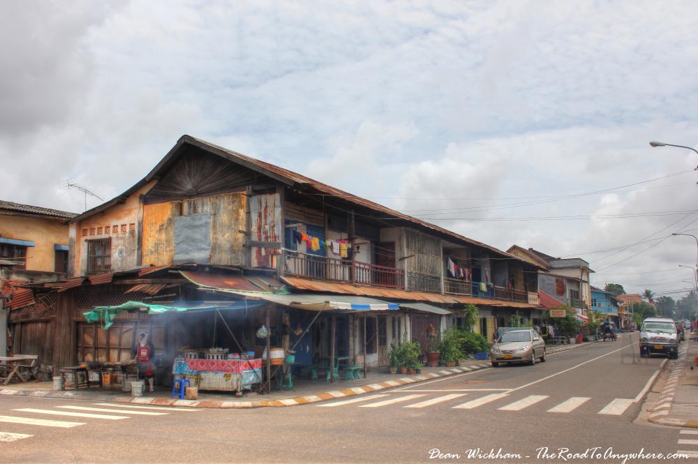 Old wooden buildings in Savannakhet, Laos