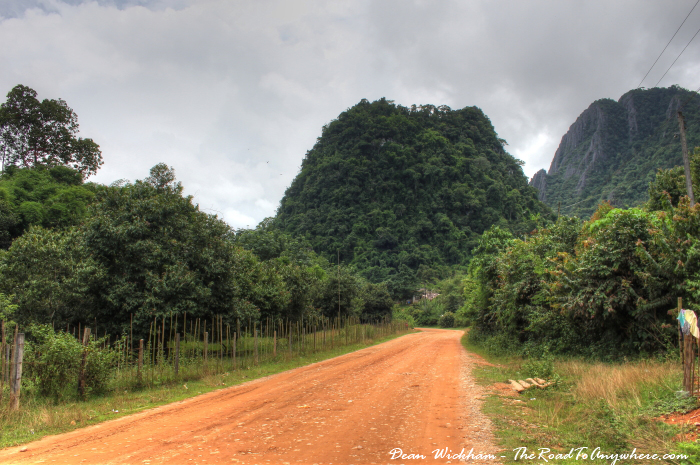 Dirt country road in Vang Vieng, Laos