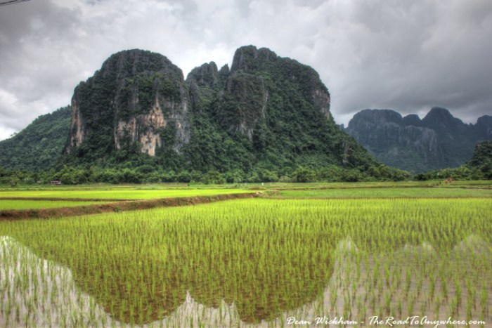 Rice fields and limestone mountains in Vang Vieng, Laos