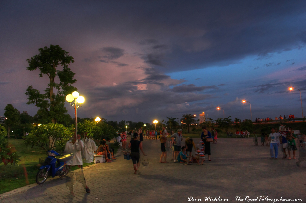 Riverfront parklands at night in Vientiane, Laos