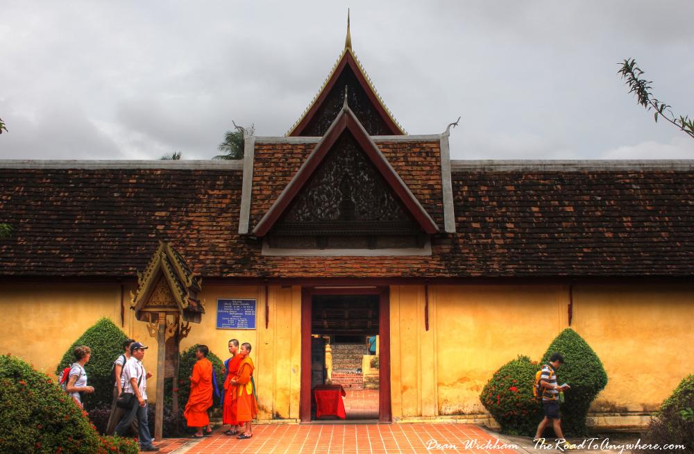 Monks outside Wat Sisaket in Vientiane, Laos