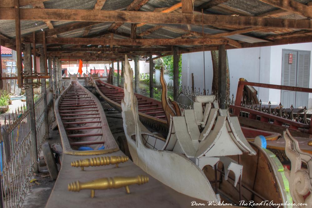 Old wooden boats at Wat Sensoukharam in Luang Prabang, Laos