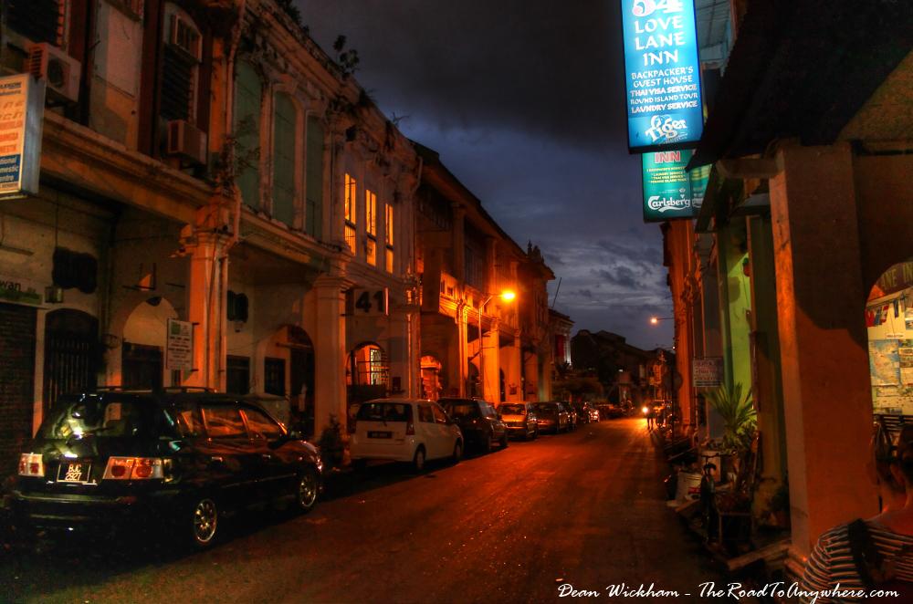 Love Lane at night in Chinatown, Penang, Malaysia