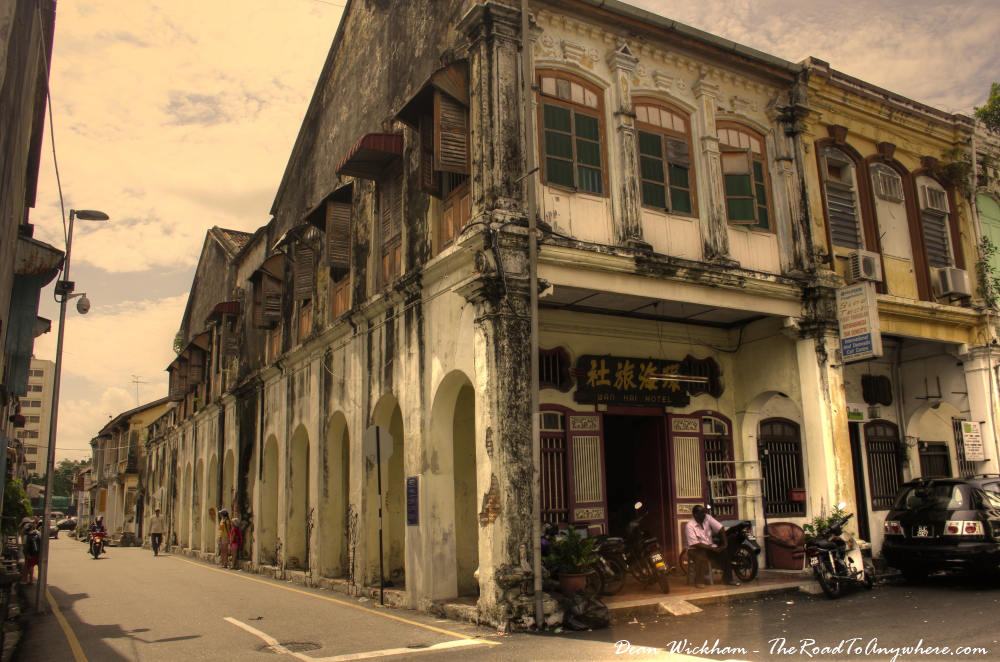 Old building on a street corner in Chinatown, Penang, Malaysia