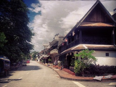 Street and old buildings in Luang Prabang, Laos