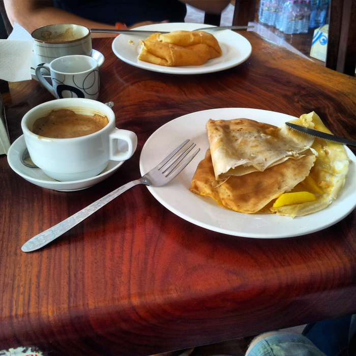 Mango crepes and Lao coffee in Luang Prabang, Laos