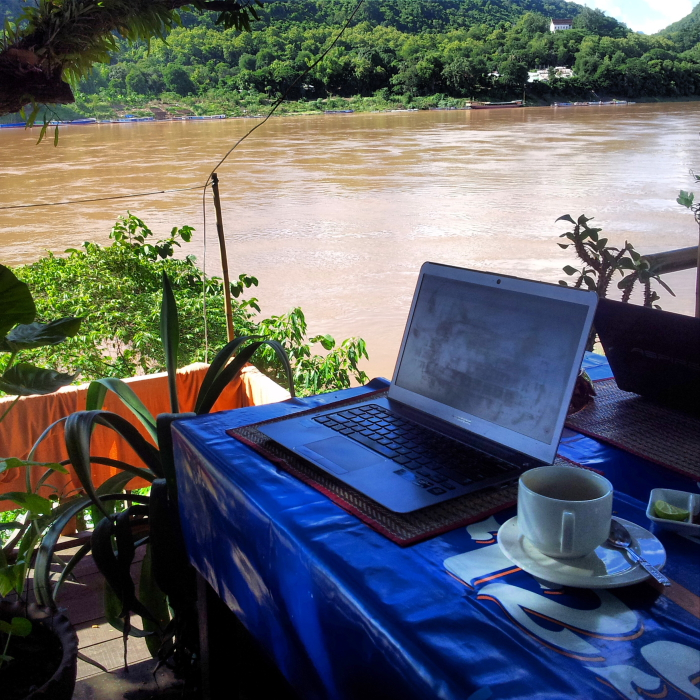Working with a view of the Mekong in Luang Prabang, Laos