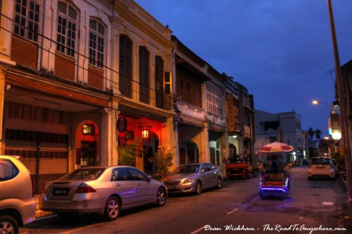 Trishaw on Jalan Muntri in Chinatown, Penang