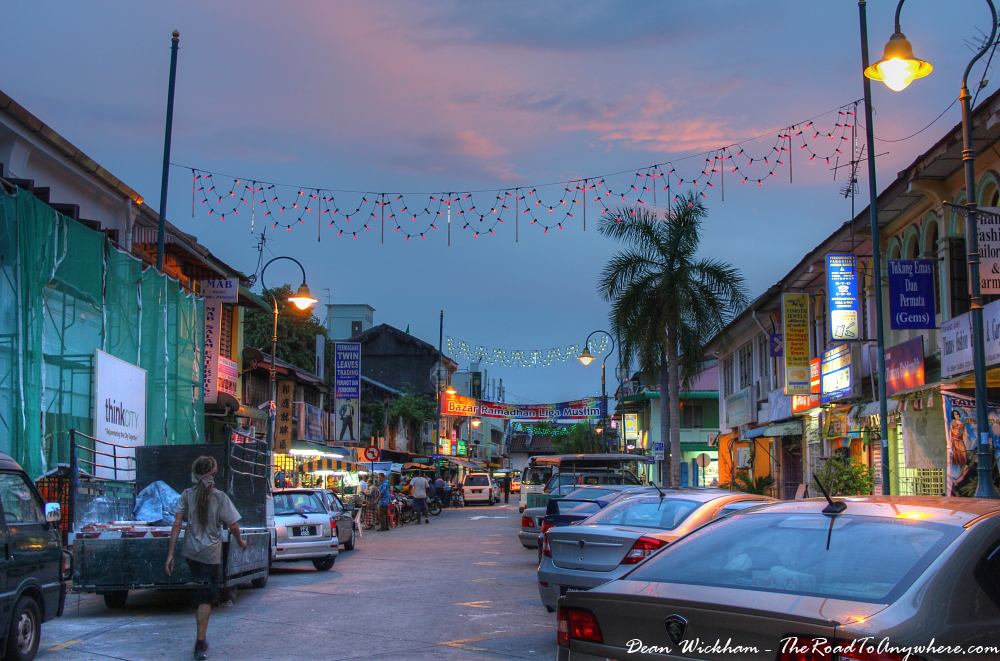 Dusk in Little India in George Town, Penang, Malaysia