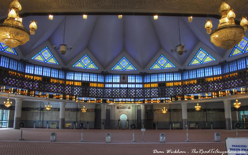 Prayer Hall in Masjid Negara Mosque in Kuala Lumpur, Malaysia