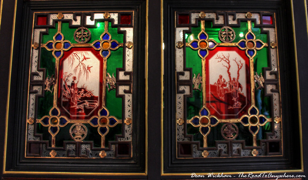 Interior windows inside Pinang Peranakan Mansion in George Town, Malaysia