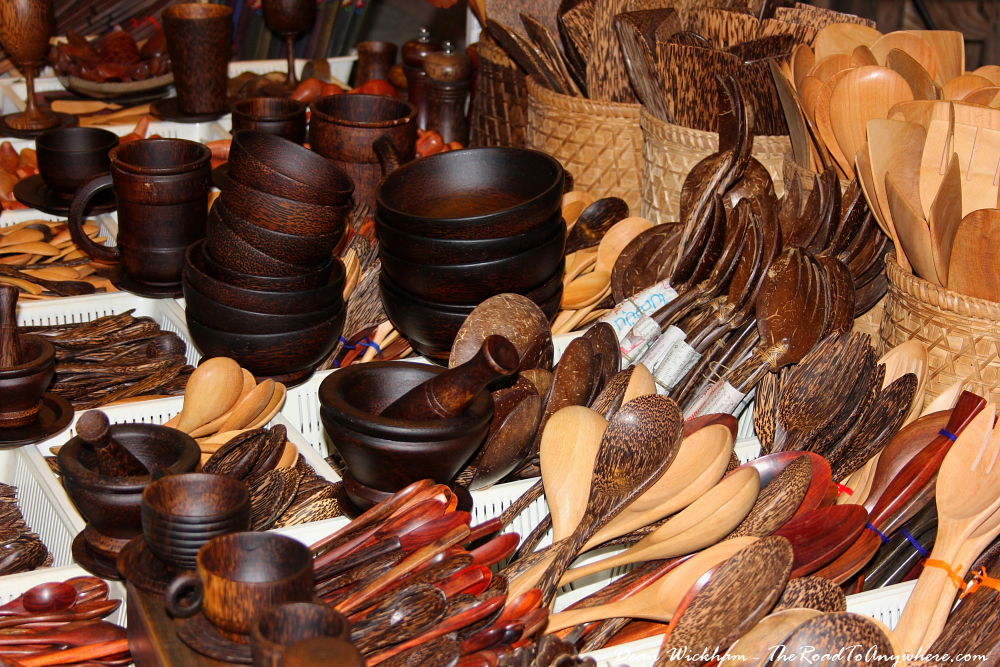 Wooden bowls and cutlery at the Sunday Market in Chiang Mai, Thailand