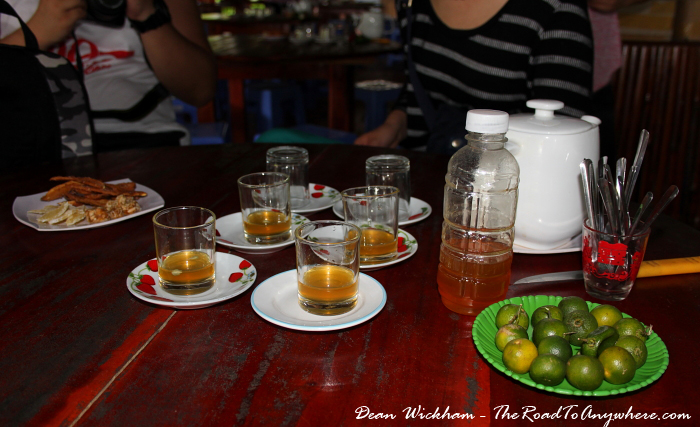 Making honey tea at a honey farm in the Mekong Delta, Vietnam