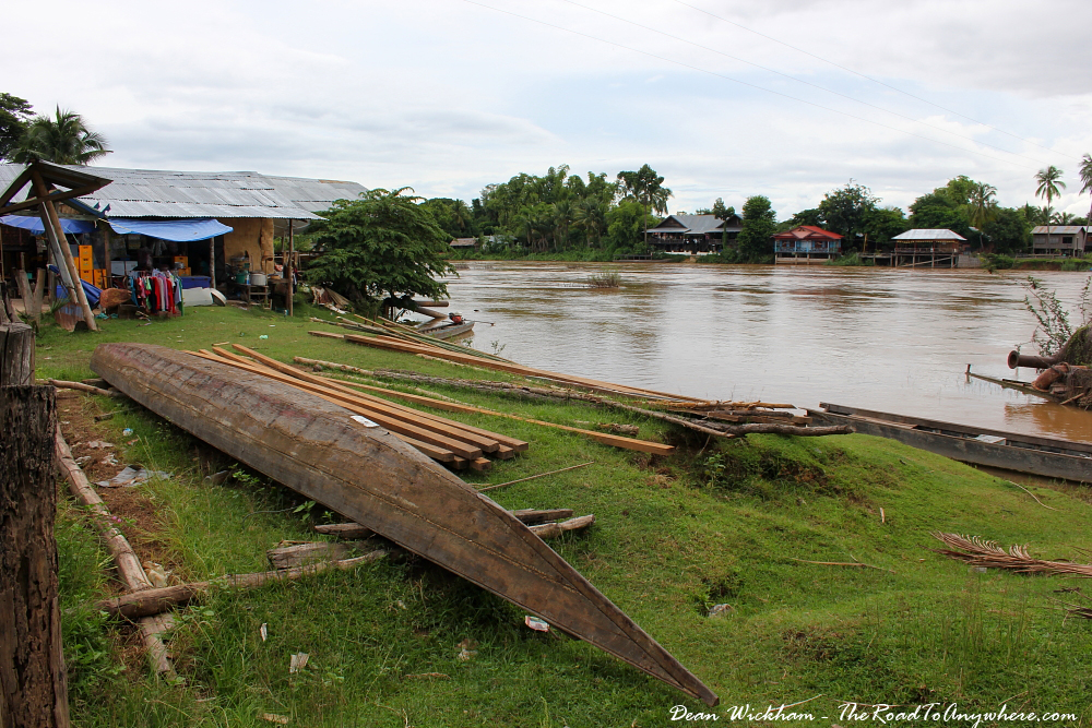Boats being built on Don Khone in Si Phan Don, Laos