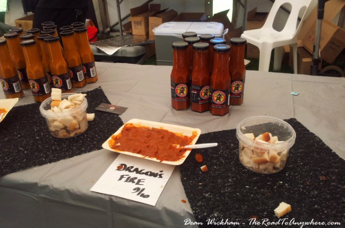 Chilli sauce tasting at the Fremantle Chilli Festival in Fremantle, Western Australia